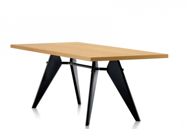Tisch EM Table von Vitra Platte Eiche, Untergestell tiefschwarz
