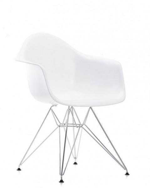 Eames Plastic Armchair DAR von Vitra, Sitzschale Farbe weiß (04), Untergestell verchromt