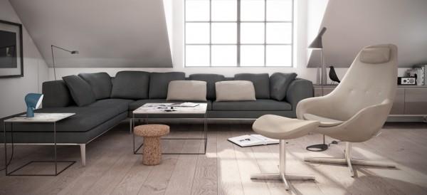 Relaxsessel Kokon mit Hocker von Varier mit Bezugsstoff Farbe bei im Wohnzimmer platziert