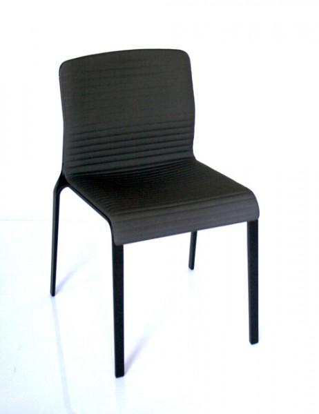 Stuhl Bend mit 3D-Polsterschale von MDF Italia, Gesell schwarz, Bezug Manila 184
