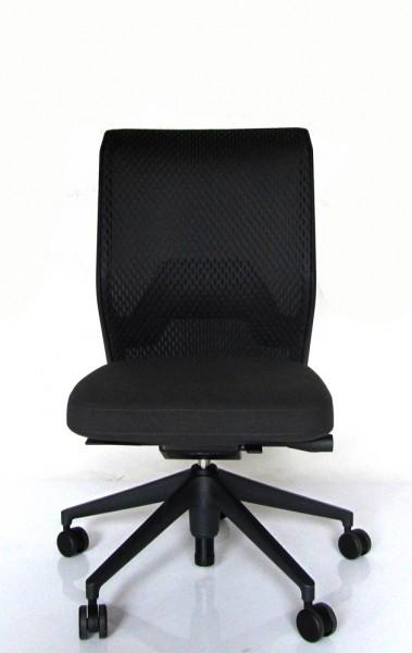 Schreibtischdrehstuhl ID Mesh auf Rollen von Vitra, Sitzbezug Plano dunkelgrau, Rücken Bezug Diamond mesh asphalt, Untergestell basic dark