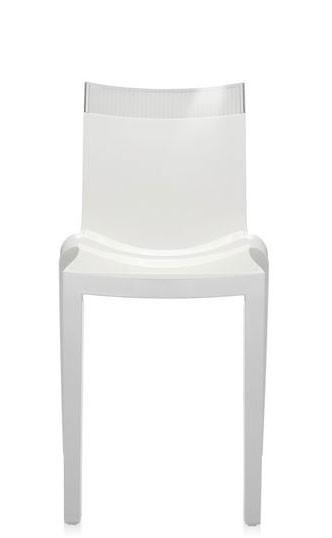 Stuhl Hi-Cut von Kartell weiß mit transparentem Oberteil