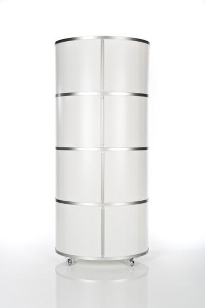 Ellipsenturm Wogg 17 Höhe 149 cm von Wogg, 4stöckig, Boden und Abdeckung Melaminweiß Schieber opal weiß