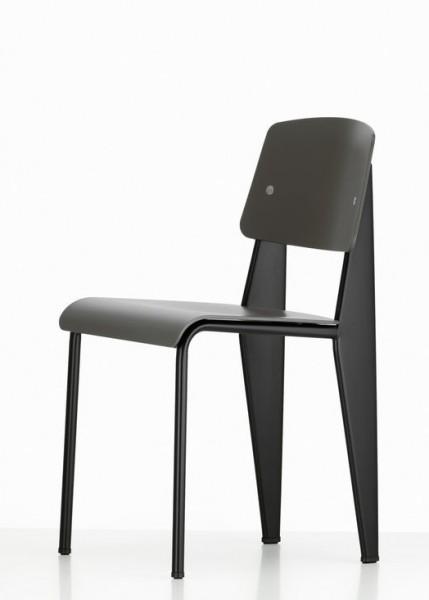 Stuhl Standard SP von Vitra, Gestell tiefschwarz, Sitz und Rücken Farbe basalt