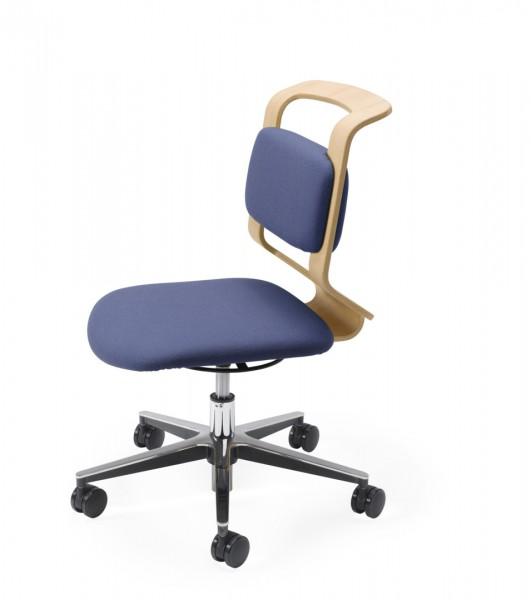 Schreibtisch-Drehstuhl Mobile von Team 7 Bezugsstoff blau