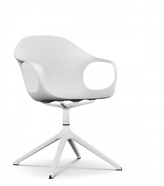 Armlehnstuhl Elephant Ständer von Kristalia, Sitzschale weiß, Ständer Aluminium lackiert weiß
