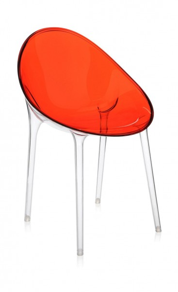Stuhl Mr. Impossible von Kartell Sitzschale rot orange