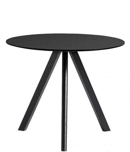 Tisch Copenhague Round Table CPH 20 Ø 90 cm Platte Linoleum schwarz Beine schwarz gebeizt Hay