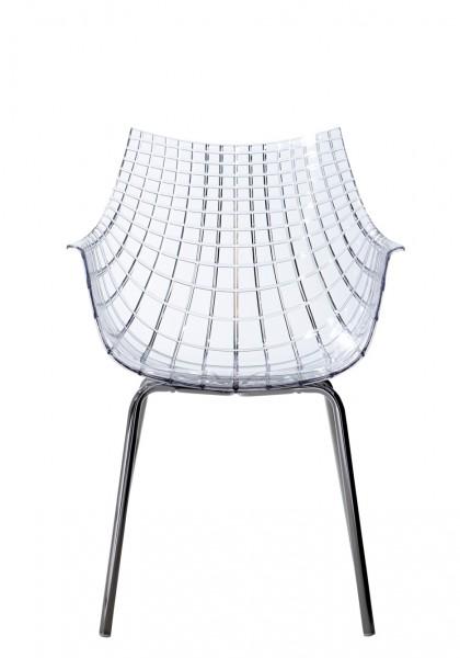 Stuhl Meridiana mit vier Beinen von Driade Sitzschale transparent