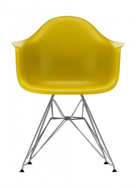 Eames Plastic Armchair DAR klassische Höhe Sitzschale senf, Gestell verchromt Ausstellungsstück Vitra