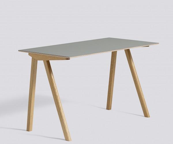 Schreibitsch Copenhague / CPH 90 Desk Platte Linoleum grau Untergestell Eiche klar lackiert Hay