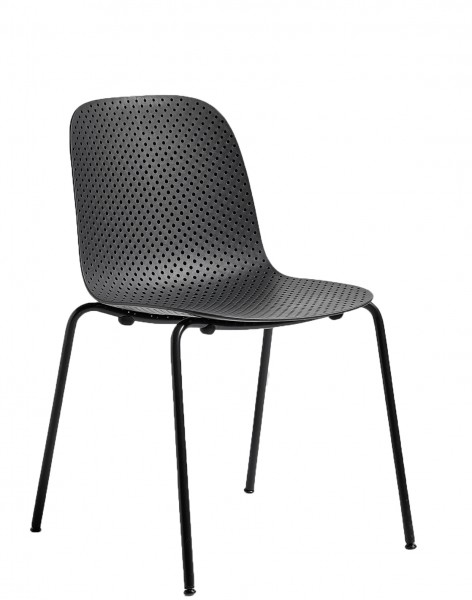 Stapelstuhl 13Eighty Chair Schale soft black, Untergestell graphite black Hay