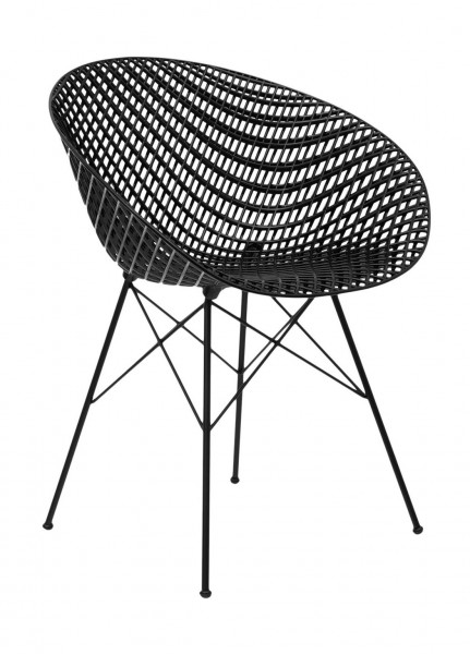 Stuhl SmatriK von Kartell Sitzschale schwarz Untergestell schwarz