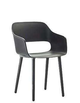 Armlehnstuhl Babila 2755 mit Holzbeinen Sitzschale schwarz, Stuhlbeine schwarz gebeizt