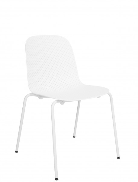 Stuhl 13Eighty Chair Schale calk white, Untergestell grey white Hay