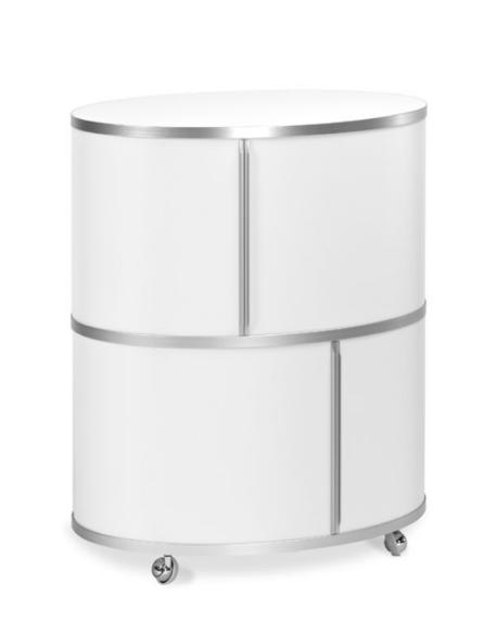 wogg 17 liva ellipsentower Abdeckung und boden Melamin weiß seidenmatt, 2 sstöckig Höhe 79 cm