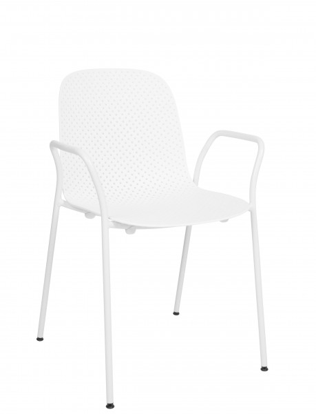 13Eighty Armchair Sitzschale calk white, Gestell grey white Hay