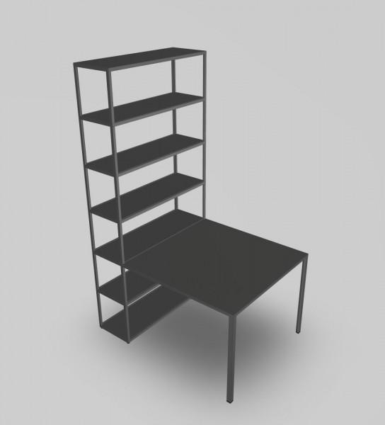 New Order Schreibtisch mit Regal Kombi 24 Farbe charcoal Hay