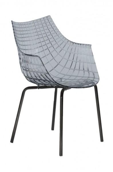 Armlehnstuhl Meridiana Sitzschale transparent Stuhlbeine schwarz matt lackiert Driade