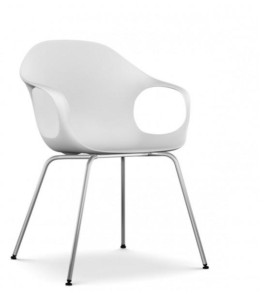 Armlehnstuhl Elephant Vier Beine von Kristalia, Sitzschale weiß, Gestell Stahl verchromt glänzend