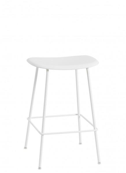 Barhocker Fiber Bar Stool Höhe 65 cm, Sitzschale weiß Untergestell weiß pulverbeschichtet von Muuto