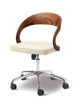 Schreibtischdrehstuhl Girado von Team 7, Lehne Nussbaum Naturöl,