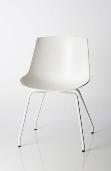 Stuhl Flow Chair von MDF Italia, Sitzschale und Gestell weiß