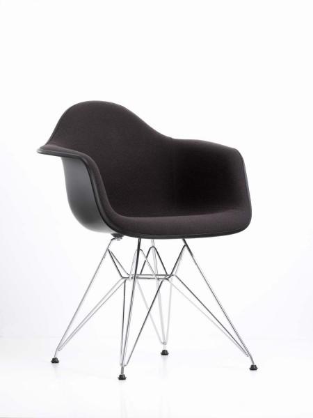 Armlehnstuhl DAR von Vitra, Gestell verchromt, Sitzschale schwarz, Sitzpolster Hopsak