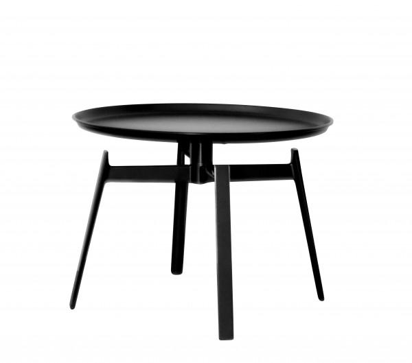 Beistelltisch Husk von B & B Italia Tischplatte schwarz lackiert, Gestell verchromt schwarz lackiert