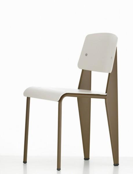 Stuhl Standard SP von Vitra, Gestell coffee, Rücken- und Sitz warmgrey
