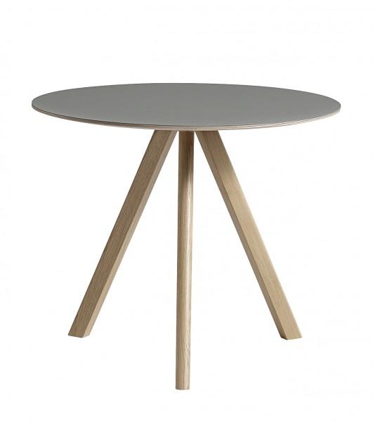 Tisch Copenhague Round CPH 20 von HAY Durchmesser 90 cm Linoleum grau, Gestell Eiche geseift