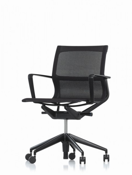 Bürodrehstuhl Physix von Vitra, Bezugsfarbe black pearl, Rahmen und Mechanikfarbe deep black, Ansicht von vorne leicht schräg