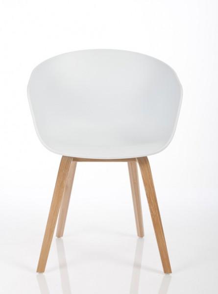 Armlehnstuhl About a Chair AAC22 von Hay, Sitzschale weiß, Gestell Eiche furniert klar lackiert (Standard) - Ansicht von vorne