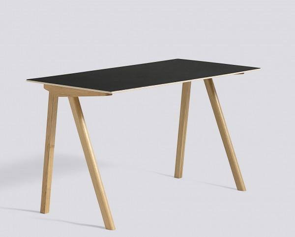 Schreibitsch Copenhague / CPH 90 Desk Platte Linoleum schwarz Untergestell Eiche klar lackiert  Hay