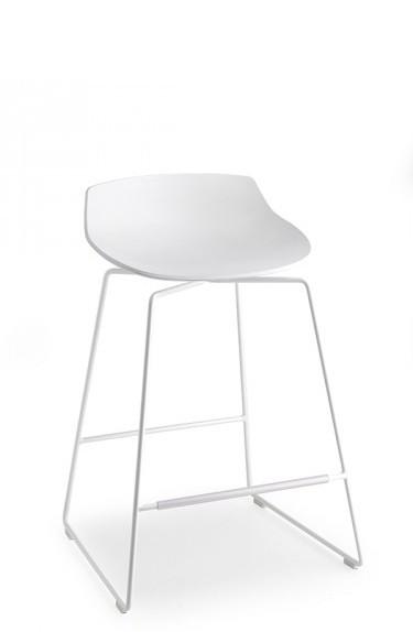 Flow Stool-MDF Italia-Kufengestell weiß lackiert-65cm-Sitzschale weiß