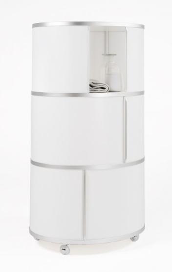 Ellipsen-Turm Wogg 17 Liva Wogg in weiß seidenmatt, Schieber weiß, Griffleisten Aluminium natur eloxiert