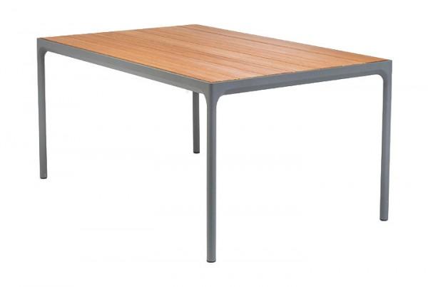 Tisch Four mit Holzplatte Größe 90 x 160 cm Tischgestell grau Houe