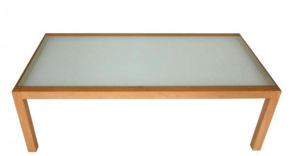 Couchtisch Loft von Team 7 - Draufsicht, Buche massiv, Tischplatte Floatglas sandgestrahlt