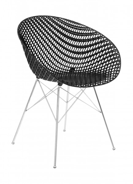 Stuhl SmatriK von Kartell Sitzschale schwarz Untergestell chrom