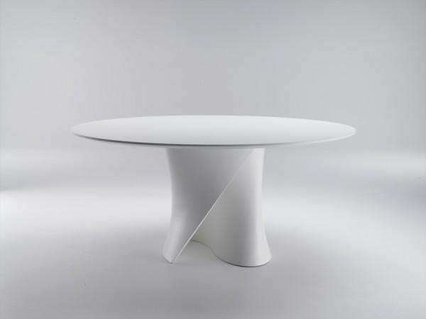 S-Table von MDF Italia Tischplatte und Füße matt weiß