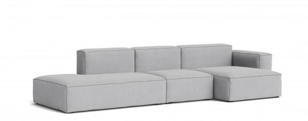 Sofakombination Mags Soft, Sofa 3 Sitzer Low Armrest - Kombi 4 mit Bezugsstoff Linara 443 Nähte dunkelgrau