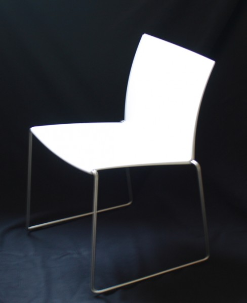 Stuhl M1 von MDF Italia Sitzschale weiß matt, Gestell Edelstahl matt