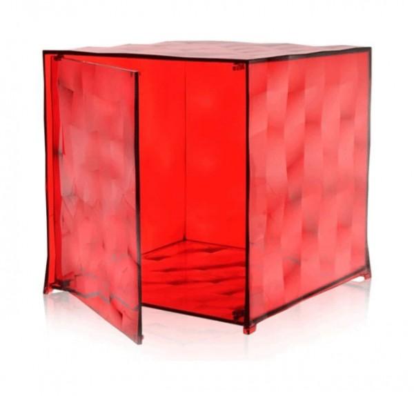 Kubus Optic mit Tür von Kartell transparent rot