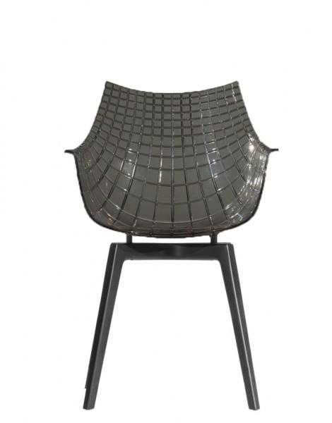 Armlehnstuhl Meridiana mit Holzbeinen Sitzschale funet Stuhlbeine holzkohlefarbig Driade
