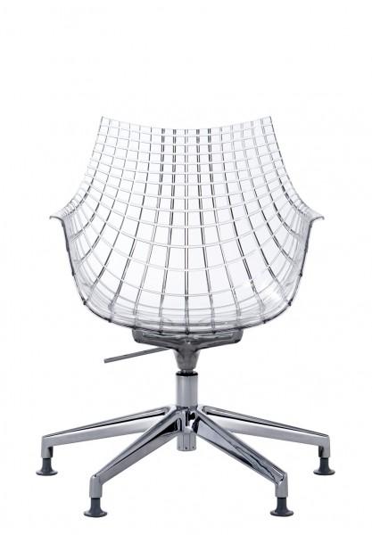 Stuhl Meridiana Sitzschale transparent, höhenverstellbar von Driade
