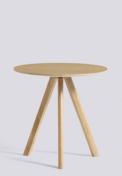 Beistelltisch Copenhague Round Table CPH20, Platte Eiche klar lackiert, Tischbeine Eiche klar lackiert