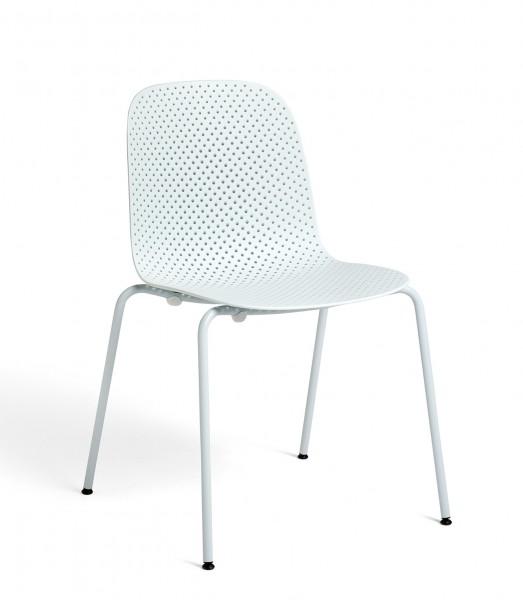 Stapelstuhl 13Eighty Chair Schale soft blue, Untergestell pure grey Hay