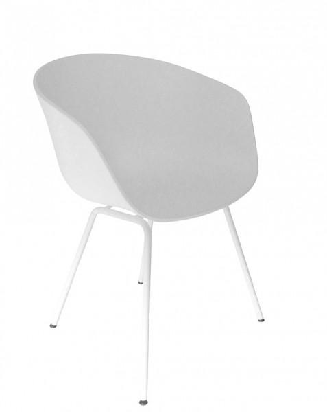 Armlehnstuhl About a Chair AAC 26 von Hay, Sitzschale weiß, Gestell weiß pulverbeschichtet