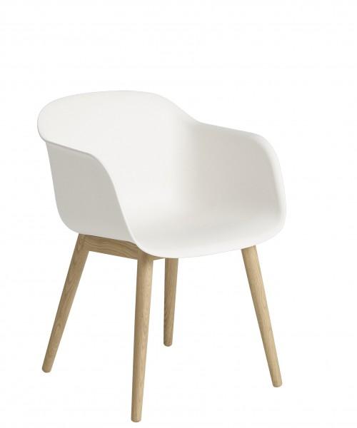 Armlehnstuhl Fiber Armchair Wood base Schale weiss Beine Eiche natur lackiert Muuto