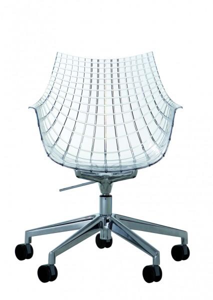 Armlehnstuhl Meridiana von Driade, höhenverstellbar mit Rollen, Sitzschale transparent